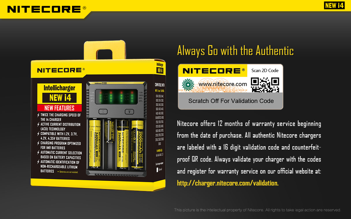 Nitecore I4 Charger | 4 Port Intelligent Battery Charger **New 2020 Model** | 18650, 26650, AA, AAA Batteries